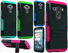 For LG G4 Hybrid Silicone Rubber Skin Case Hard Kick Stand Cover +Screen Guard