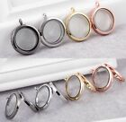 Round Stainless Steel Living Memory Jewelry Charm Glass Locket Pendant Findings