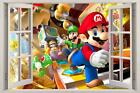 Mario Luigi & Yoshi 3D Window View Decal WALL STICKER Decor Art Mural Super Bros
