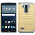For LG G Stylo HYBRID IMPACT Dazzling Diamond Layered Case Cover +Screen Guard