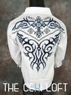 VICTORIOUS White Hot Tribal Crystal Embroidered Button Shirt ROAR with Class!
