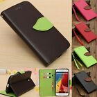 Leaf Flip Leather Wallet Card Slot Holder Soft TPU Case Cover Stand For Moto G2