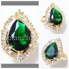 Pear Princess baguette teardrop eye round ring gold pt green emerald cz crystal