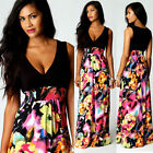 Deep V neck Sexy Women's Long Dress Ladies Summer party Polyester Beach Skirt