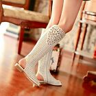 Womens Stylish Leather Peep Toe Diamante Hollow Out Zipped Flat Booties Sandals