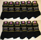 6-12 Pairs Kings Black Mens Ribbed Dress Socks Casual Cotton Size 10-13 New BK