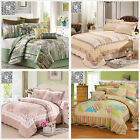 Floral Queen King Size Patchwork Coverlets Quilted Bedspreads Set Bed Banket Rug