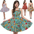 Vintage ROCKABILLY Cotton Swing Cocktail Evening Prom Party Pin Up Dress XS~XL