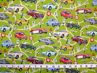 CLASSIC CARS -  ALL OVER CAR PRINT ON GREEN 100% cotton patchwork fabric