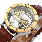 2 Colours Steampunk Transparent Skeleton Mens Automatic Mechanical Wrist Watch