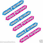 "New 1st Happy Birthday Banner Holographic 3 Times repeated ""Happy 1st Birthday"""
