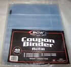 BCW Coupon Organizer Binder Refill Package 40 Pages 5 Various Sizes