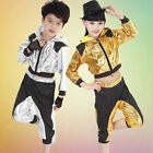 New Boys Girls Bright Sequined Hooded Modern Jazz Hip Hop Dance Costume Top&Pant