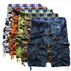 Mens Cotton Summer Army Combat Camo Cargo Shorts Pants Trousers size 29-38&&