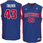 Mens Detroit Pistons Anthony Tolliver adidas Blue Replica Jersey