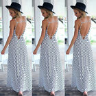 HOT Women's Long SexySplit Backless Sleeveless Striped Maxi Dress Beach Sundress