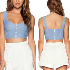 May&May Women's Front Button Detail Smocked Back Bustier Crop Top Tee Tank Shirt