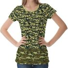 Green Camouflage Pattern Womens Ladies Short Sleeve Top Shirt Blouse