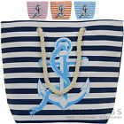 Ladies / Womens Large Stripped Canvas Beach / Holiday / Summer / Tote Bag