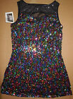 Внешний вид - NWT Spotlight Hologram Sequin Sleeveless Dress Keyhole Front  Slit Side Ladies