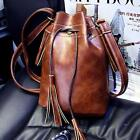 Women Retro Leather Tassels Bucket Shoulder Bag Messeger Vintage Cross Body Bags