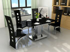 Black Glass 4 Or 6 Seat Extendable Dining Table & Chairs Set In 4 Colours