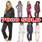 womens Ladies Satin Pyjama Set Silky Summer Lounge wear Pajamas long sleeve pjs