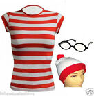 New Ladies Women's Wheres Wally Striped T-shirt Hat and Glasses Fancy Dress