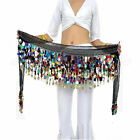 Sale Coins Best White Belly Dance Skirt Belt Hip Scarf Wrap Multicolored Sequins