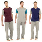Mens Pyjamas Short Sleeve Top Trouser Cotton Pyjama Set PJ Sleepwear Nightwear z