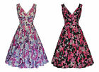 50s VINTAGE BUTTERFLY PRINT FULL FLARED ROCKABILLY PARTY TEA DRESS NEW 8 - 20