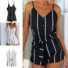 Sexy Women Lady Striped Lacing Black White Bodycon Sleeveless Jumpsuit Romper