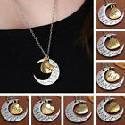 I LOVE YOU TO THE MOON AND BACK Family Lover Friend Pendant Necklace Heart Chain