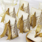 10pcs Candy Boxes With Ribbon Wedding Party Favor Gift Box Silver Gold
