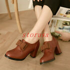 Plus Size Womens Block High Heel Bowknot Court Pumps Ladies Office Casual Shoes