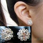 Crystal Flower Stud Earrings rhinestone Women gift personality statement