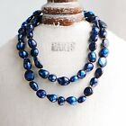 """Baroque 10mm Freshwater Pearl Necklace 25""""-60"""" endless PALETTE Pure navy"""