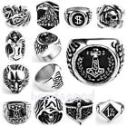 Biker Band Stainless Steel Men Finger Ring Punk Rock Unisex us8-13