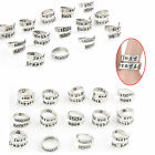 Hot Metal Letters Engraved Family Love Opening Adjustable Rings Gift Jewelry