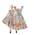 H&R LONDON BLUE LAGOON DRESS PINUP COCKTAIL 1950's ROCKABILLY RETRO VINTAGE