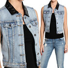 TheMogan Quilted Faux Leather Collar Classic Medium Blue Washed Denim Vest