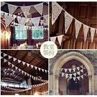 Hotsale Linen Bunting Triangle Flags Lace Banner Garland Wedding Party Decor LJ