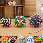 Pet Puppy Dogs Cotton Ropes Chews Toy Ball Play Braided Bone Knot Color Random