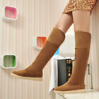 Hot Sale Faux Suede Fur Lined Cuffed Women Flat Winter Warm Over Knee Snow Boots