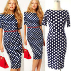 Vintage Sexy Womens Bodycon Bandage Belted Dress Office Work Pencil Casual Dress