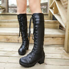 Ladies Punk Platform Lace-Up Gothic Rivet Buckle Chunky Heels  Knee-High Boots