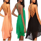 FD2436 Sexy Women Chiffon Backless Cocktail Party Evening Mini Short Dress 1pc ♫
