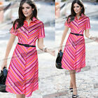 Womens Vintage Summer Belted Business Casual Party Skater A Line Shirt Dress 712