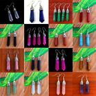Natural Gemstone Hexagonal Point Reiki Chakra Healing Bead Silver Plate Earrings