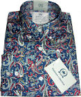 Shirt Blue Paisley Men's Platinum Range-Button down Cotton Relco -sizes S-3XL